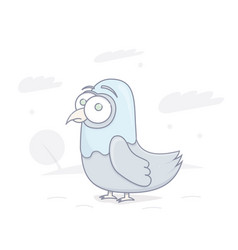 funny pigeon stupid look vector image vector image