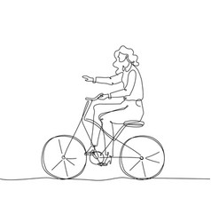 girl riding a bicycle - one continuous line design vector image