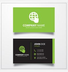 Globe cursor icon business card template vector