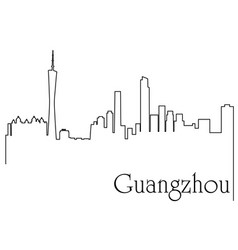guangzhou city one line drawing vector image