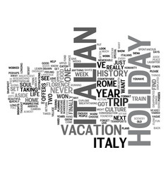 italian holiday text background word cloud concept vector image