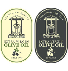 labels for olive oil with oil press and barrel vector image