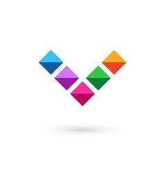 Letter v mosaic crystal logo icon design template vector
