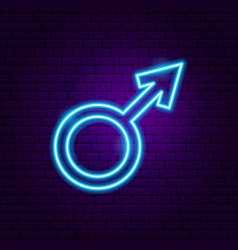 Male gender neon sign vector