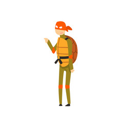 man dressed as a ninja turtle funny person vector image