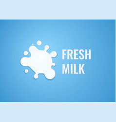 milk logo with white splash of milk emblem vector image