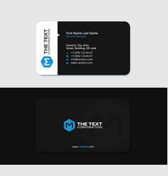 modern black business card with the blue letter m vector image