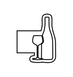 Monochrome contour emblem with bottle and glass of vector