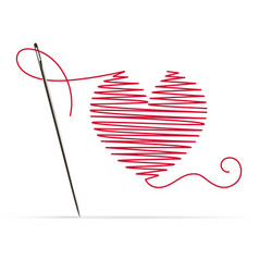 Needle with red thread in shape a heart vector