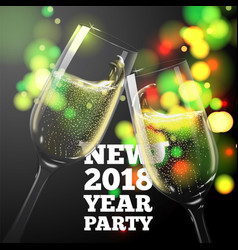 New year banner with champagne glasses vector