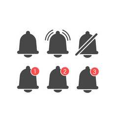 notifications bell icons set with bell and vector image