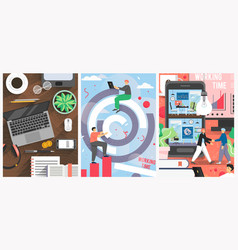 office work poster banner template set vector image