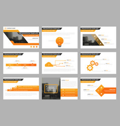 Orange presentation templates infographic vector