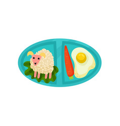 Oval lunch box with food fried egg with carrot vector
