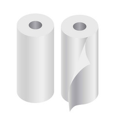 Paper rolls set of two isolated on white vector