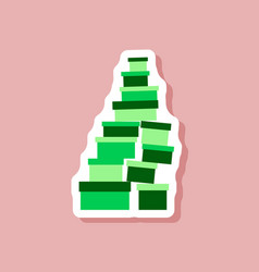 Paper sticker on stylish background mountain of vector