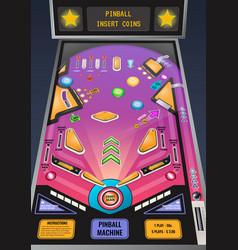 Pinball machine realistic image vector