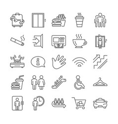 Public services line icons elevator cloakroom vector