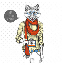 Retro hipster animal fox with photo camera woman vector