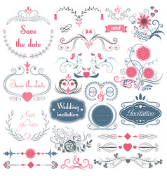 Romantic hand drawn wedding graphic set of vector