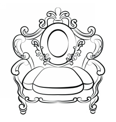 Royal armchair set in baroque rococo style vector