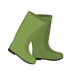 Rubber boots for fishing icon flat cartoon style vector