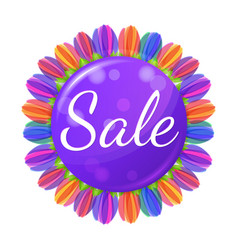 sale concept banner with flowers vector image
