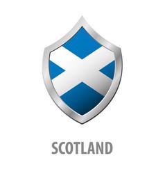 Scotland flag on metal shiny shield vector
