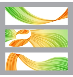 Set banners wavy shape vector image