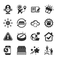 set business icons such as deluxe mattress vector image