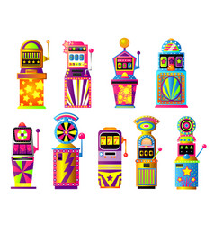 Set colorful slot machines lucky gold city vector