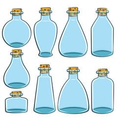 Set of color cans vials bottles vector