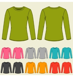 Set of templates colored sweatshirts for women vector image vector image