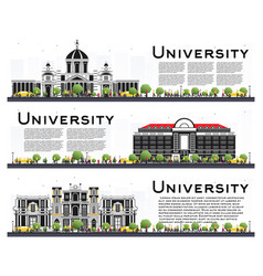set of university campus study banners isolated vector image