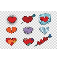 Set of Valentine hearts on a transparent vector