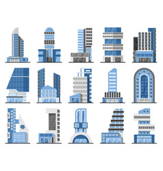 Set office buildings vector