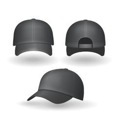 set realistic black baseball caps isolated vector image