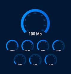 set speed test speedometer internet speed website vector image