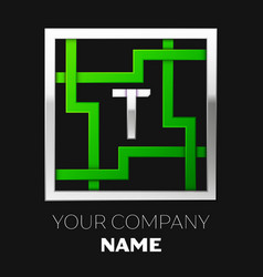 silver letter t logo symbol in the square maze vector image