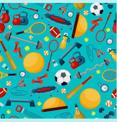 Sport accessories flat seamless pattern vector