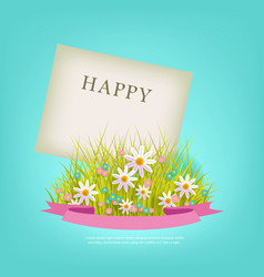 spring flowers and grass with pink ribbon on blue vector image
