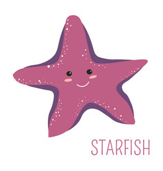 Starfish with face childish book cartoon character vector