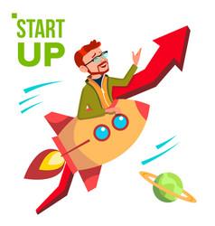 startup rocket soars up on background of vector image