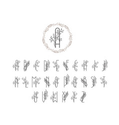 Summer or spring floral font logo floral vintage vector