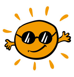 sun with sun glasses on white background vector image