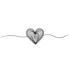 Tangled grungy round scribble hand drawn heart vector