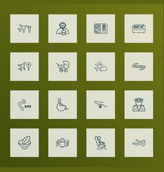 Travel icons line style set with disabled sitting vector
