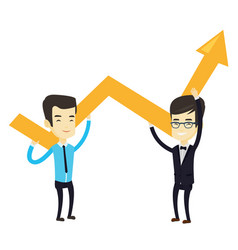 Two business men holding growth graph vector