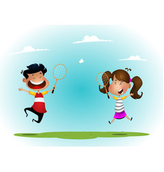 Two girls playing badminton outdoor vector