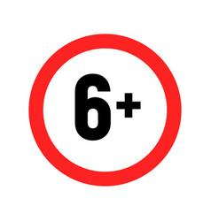 Under 6 sign warning symbol over 6 only censored vector